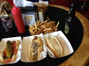 Chicago Dog (Debatably best in the city. Char grilled, of course), the rattlesnake sausage, Foie Gras and Sauternes Duck Sausage, and a serving of duck fat fries. Get your elastic waistbands ready